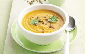 Spiced pumpkin soup with roasted pumpkin seeds