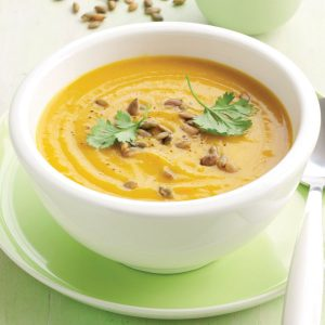 Spiced pumpkin soup with roasted pumpkin seeds