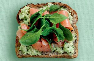 Spicy avocado, salmon and baby spinach on toast