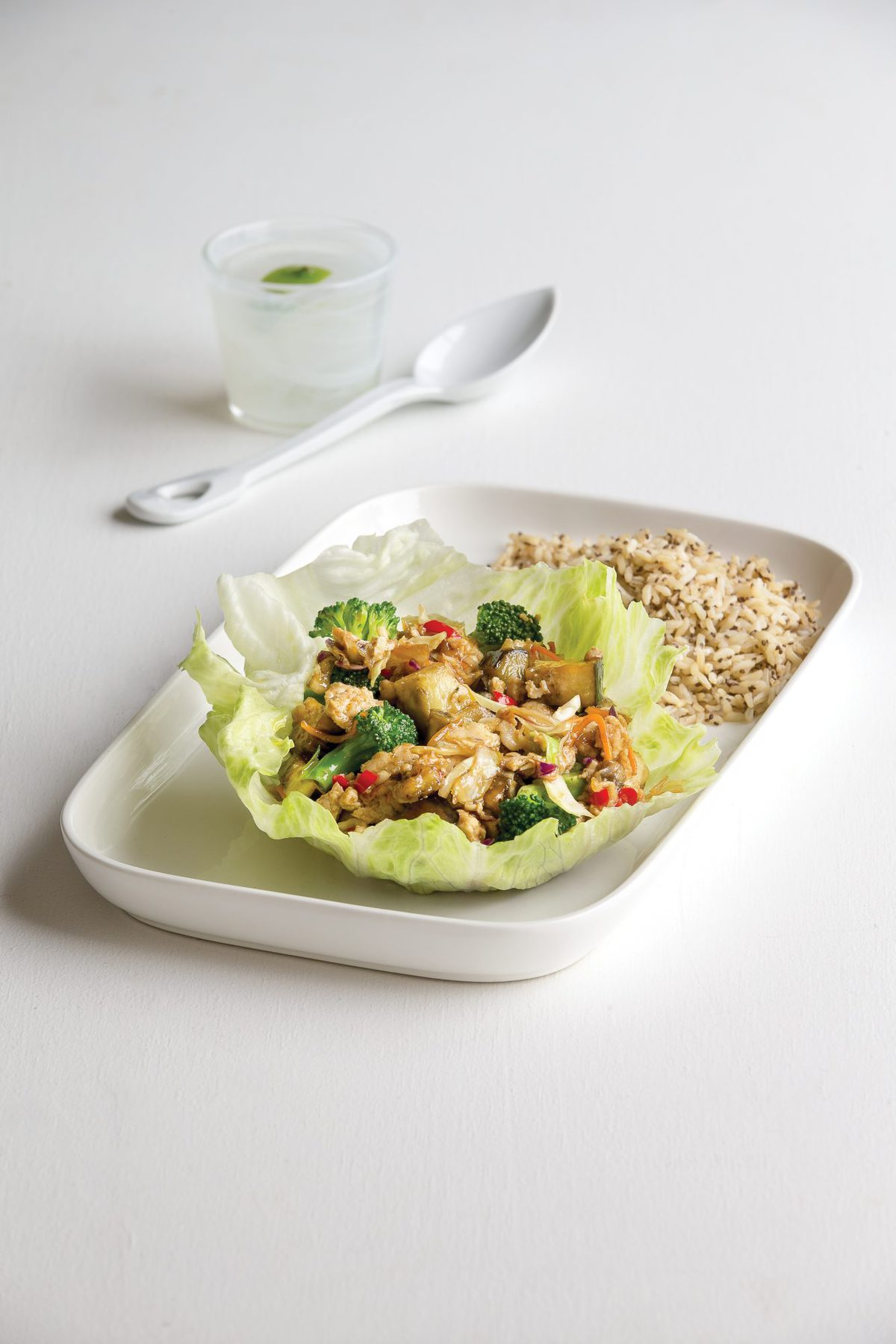 Spicy chicken and eggplant in lettuce cups