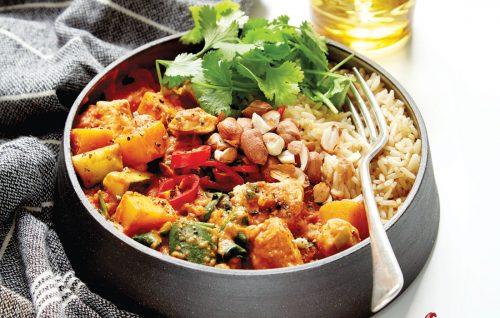 Spicy peanut chicken and pumpkin stew