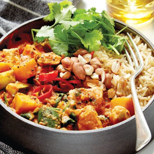 Spicy peanut chicken and pumpkin stew