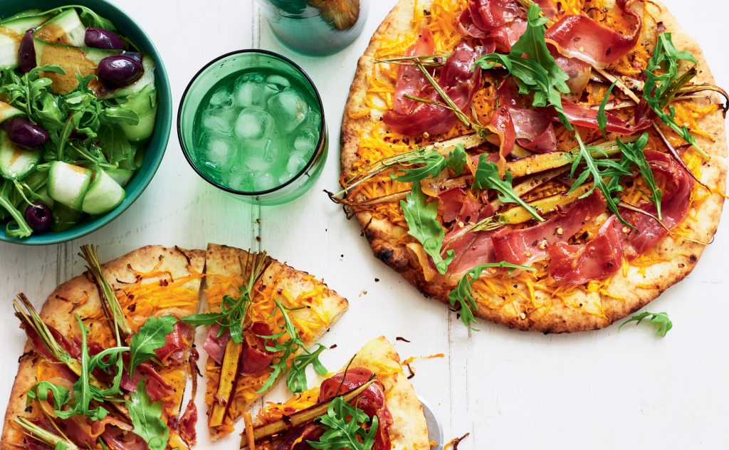 Spicy pumpkin and prosciutto pizzas