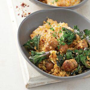 Spicy sausage stew with vege mash