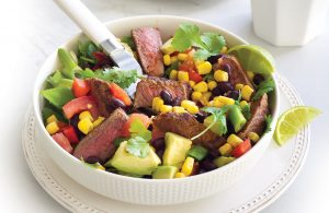 Spicy steak with Mexican style-salad