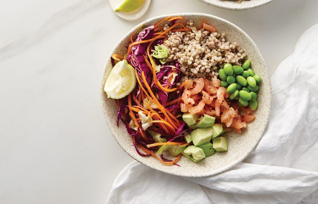 Spicy vege, prawn and buckwheat bowl