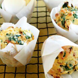 Spinach, kumara and sun-dried tomato muffins