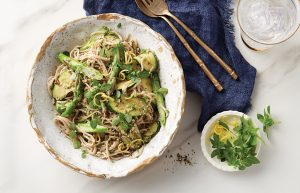 Spring vege noodles with walnut pesto