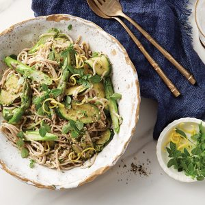 Spring vege noodles with walnut pesto