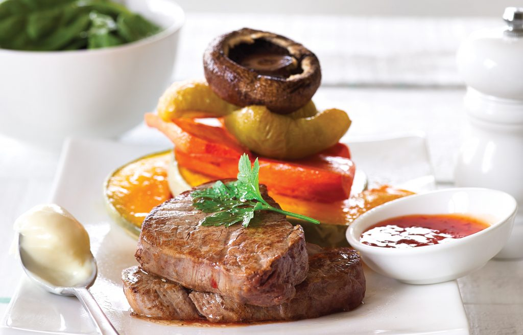 Steak and roasted vegetable stack