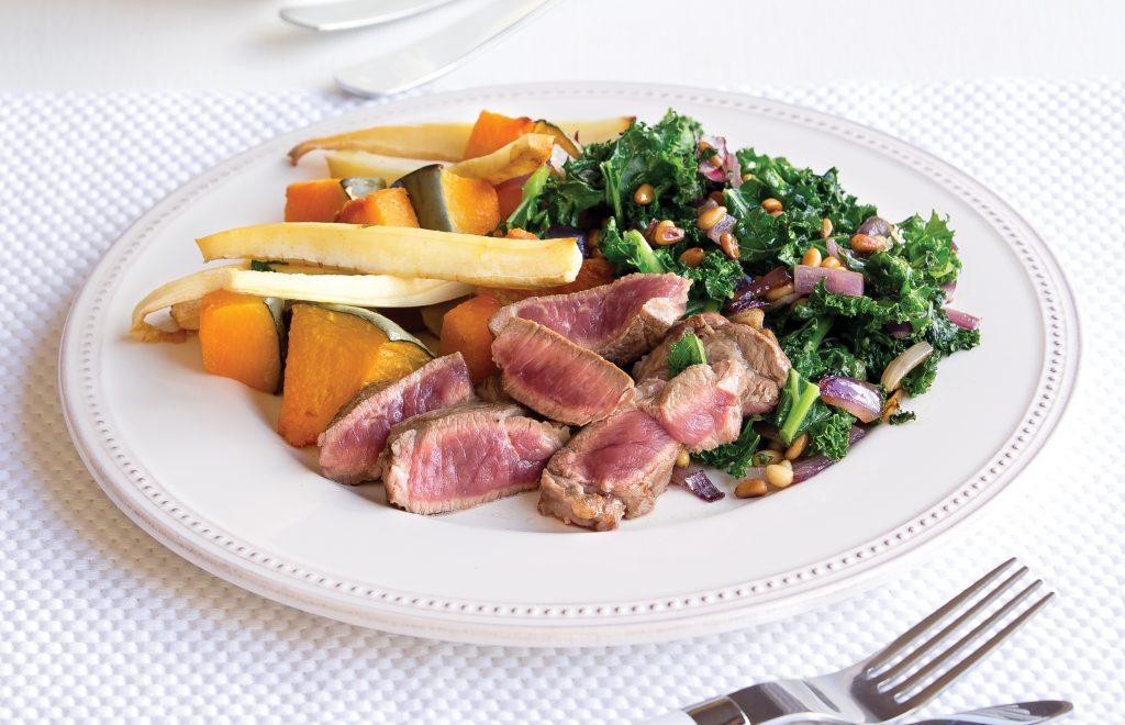 Steak with nutty kale