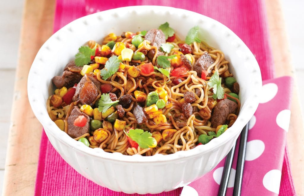 Sultana beef noodle stir-fry