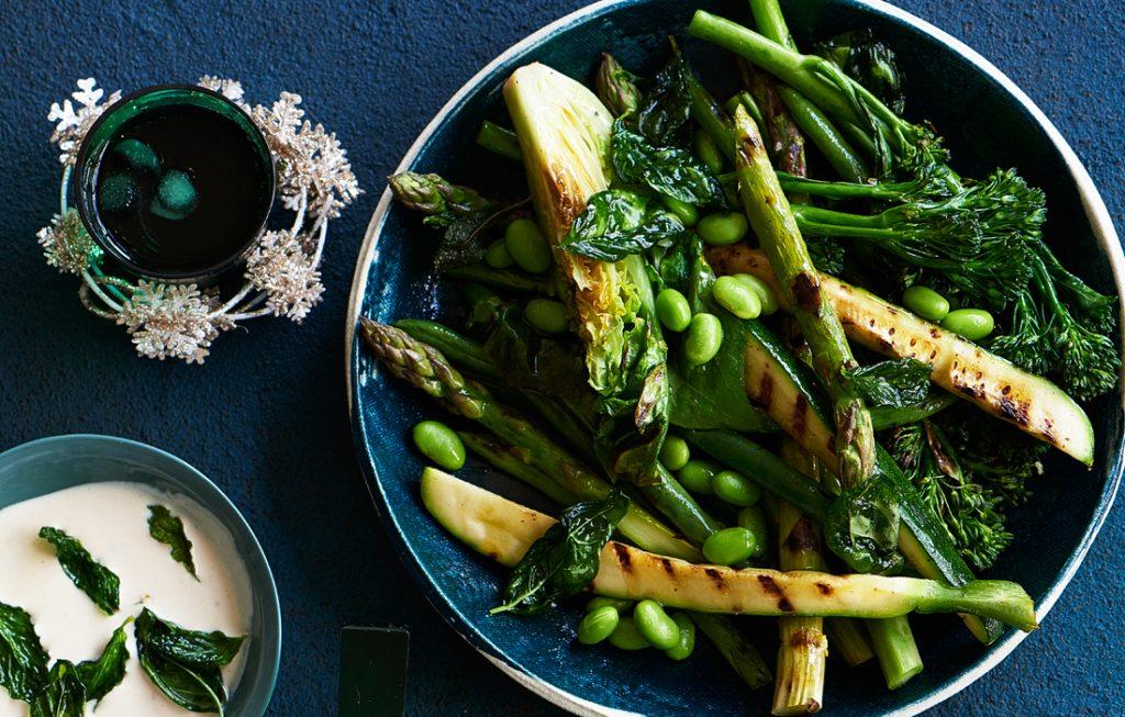 Summer greens with tahini sauce