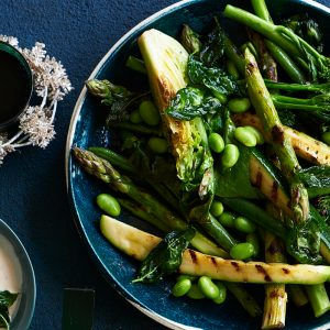 Summer greens with tahini sauce