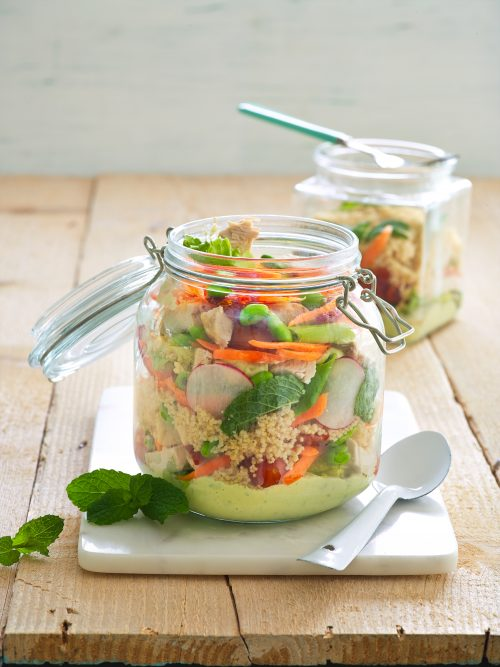 Summer vegetable and chicken jar salad