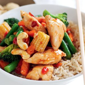 Sweet chilli chicken and cashew stir-fry