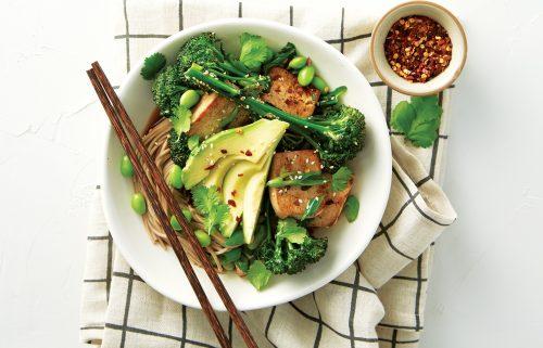 Teriyaki tofu with soba and greens