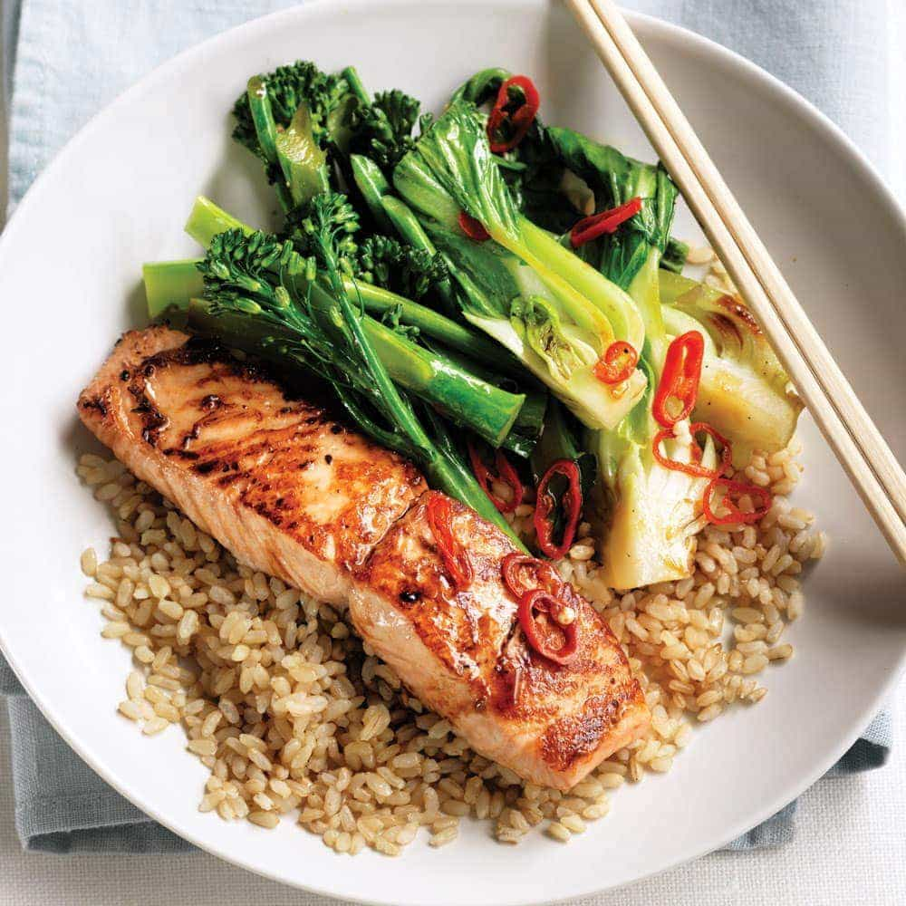 Teriyaki Salmon With Stir Fried Greens And Brown Rice Healthy Food Guide