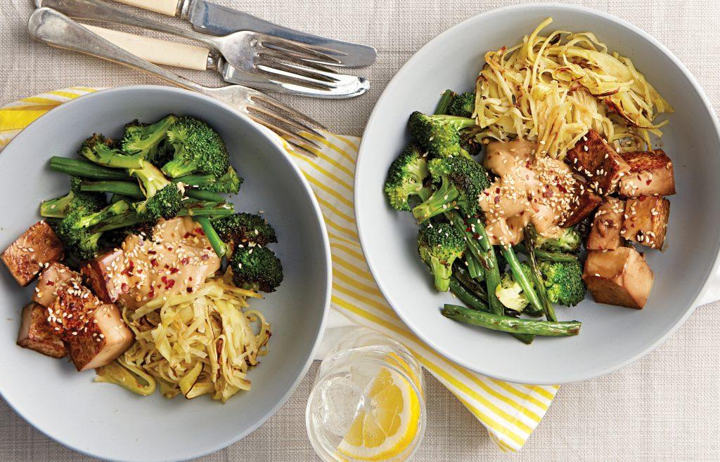 Teriyaki tofu bowl with kumara 'noodles' and nutty sauce