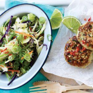 Thai chicken patties with shredded vege rice salad