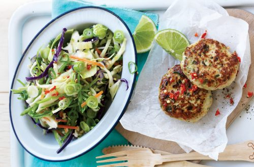 Thai chicken patties with shredded vege rice salad