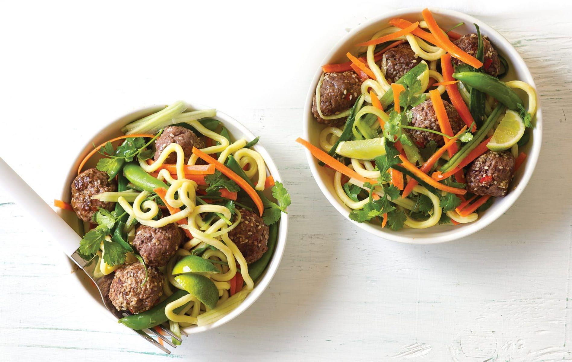 Thai meatball salad and sesame noodles