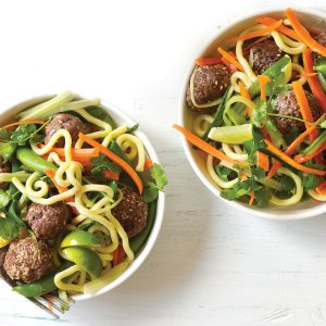 Thai meatball salad and sesame noodles