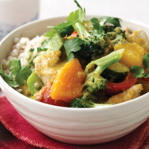 Thai yellow chicken curry with coconut rice