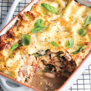 Tofu, bean and kale lasagne