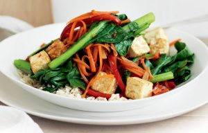 Tofu stir-fry with Asian greens, chilli and lemongrass