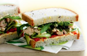 Tuna, hummus, roasted capsicum and cucumber sandwich