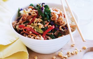 Turkey, green bean and rainbow veges stir-fry