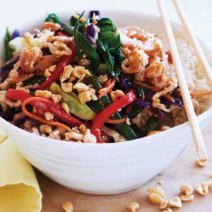 Chicken, green bean and rainbow veges stir-fry