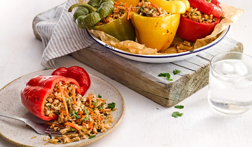 Vegan stuffed capsicum