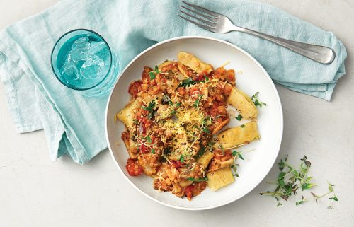 Weeknight meal plan: Chicken noodle soup, sausage stew, herby rice, veg gnocchi