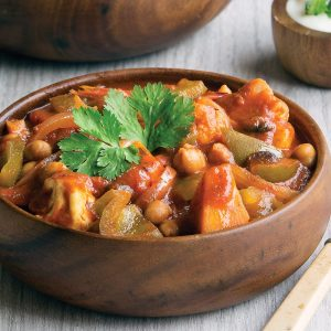 Vegetable jalfrezi with rice