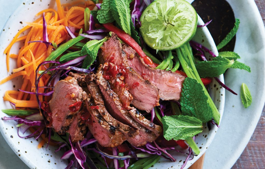 Vietnamese barbecued beef, kumara and mint salad
