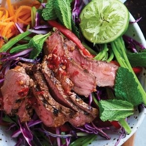 Vietnamese barbecued beef, kumara and mint salad