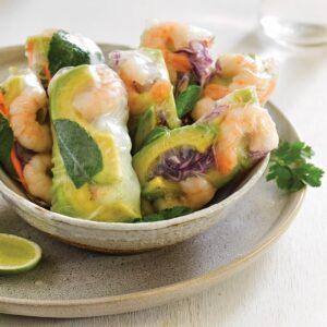 Vietnamese fresh spring rolls with peanut sauce