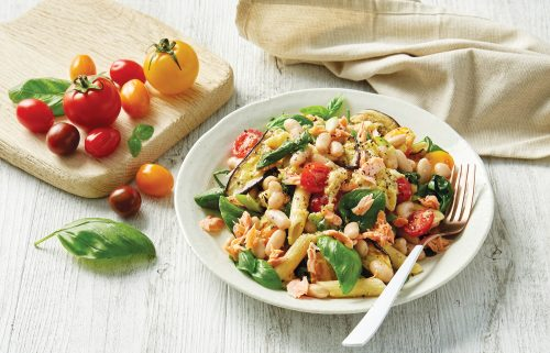 Warm salmon and cannellini bean penne salad