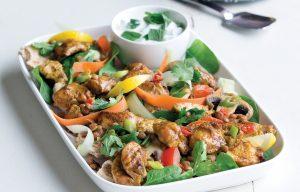 Warm chicken tikka pita salad