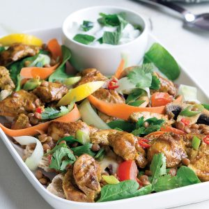 Warm chicken tikka pita salad