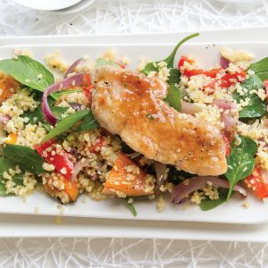 Warm roast pumpkin and bulgar wheat salad with maple-glazed pork