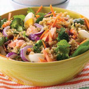 Warm salmon, egg and quinoa salad