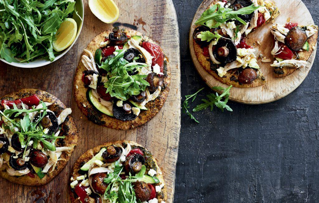 Pesto, mushroom and chicken pizzas