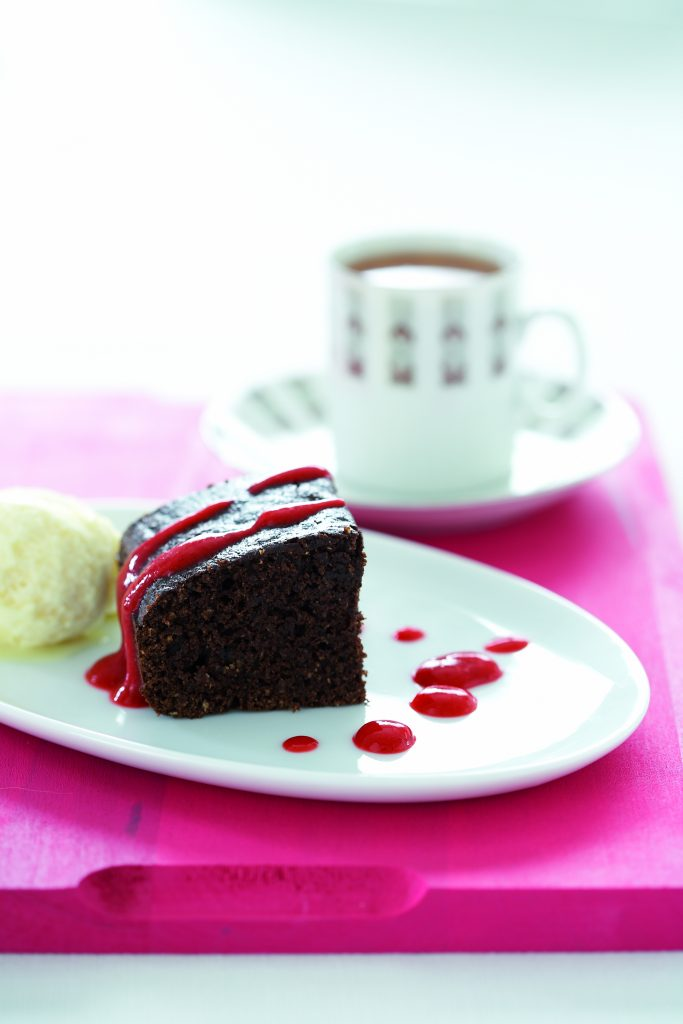 Almond brownies with sorbet and raspberry sauce