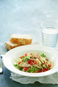 Angel hair pasta with salmon and chilli