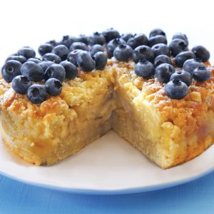 Apple and blueberry crumble cake