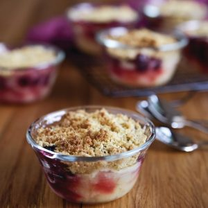 Apple and blackcurrant crumbles