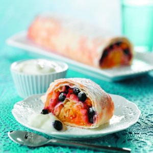 Apple and blueberry strudel